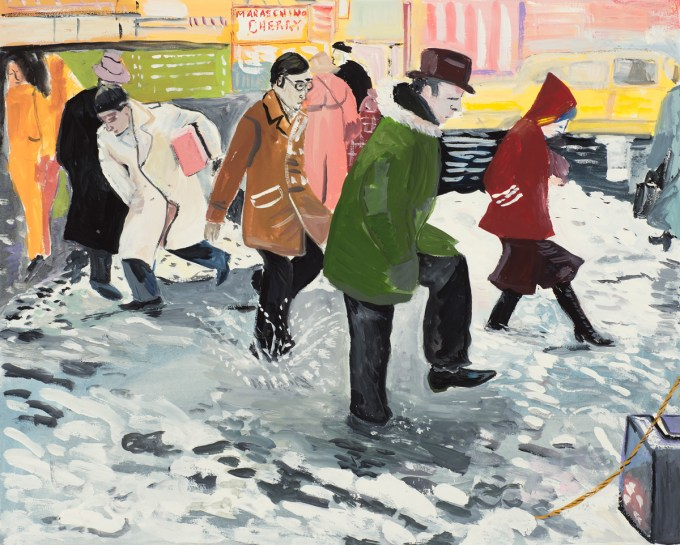 "Illustration by Maira Kalman, based on Barney Ingoglia's photograph for the New York Times article ""Rain Raises Fears of Flooding: Pedestrians in Times Square Wading through a Puddle as Heavy Rains Began Yesterday. The Rain Was Expected to Continue Today, Melting Much of the Snow and Causing Fears of Flooding,"" January 25, 1978.  (Courtesy of The Museum of Modern Art © Maira Kalman)"