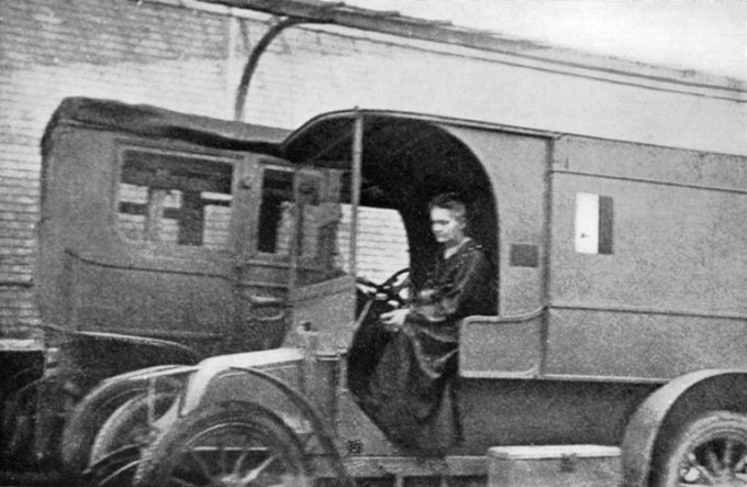 Marie Curie driving one of the mobile X-ray units