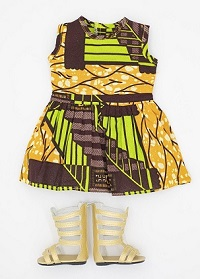 18 inch African print doll dress