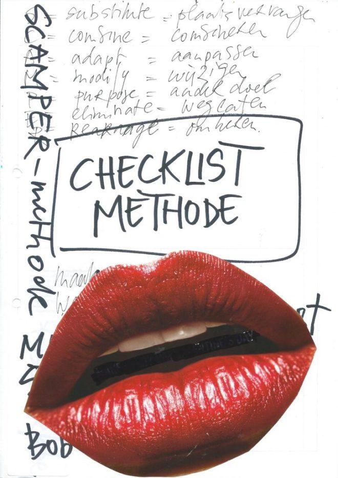 checklist, methode, scamper, product, dienst, brainstormen, vervangen, combineren, aanpassen, weglaten, wijzigen, ander doel, omkeren, bob eberle, vraag, check, checken, lijst maken