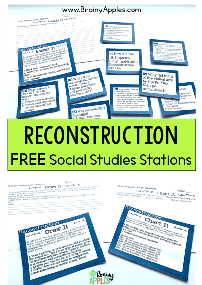 Free history stations activity for the middle school and high social studies classroom and homeschoolers. This social studies stations pack will help students better understand American Reconstruction. This blog post includes why station rotations are beneficial, tips on how to create your own stations activities, and how to use stations in the secondary classroom and as homeschooling.  #brainyapples #stations #socialstudies #history #middleschool #highschool