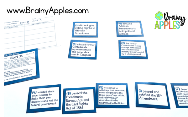 Learn how to create and use social studies stations in the middle and high school classroom and homeschoolers. You can also download a free history stations activity about American Reconstruction. Students love learning about history using station rotations! #brainyapples #stations #socialstudies #history #middleschool #highschool