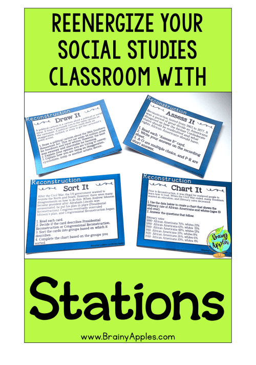 Free history stations activity for the middle school and high social studies classroom and homeschoolers. This social studies stations pack will help students better understand US Reconstruction that followed the Civil War. This blog post includes why stations are beneficial and tips on how to create your own stations and how to use stations activities in the secondary classroom and and homeschooling. #brainyapples #stations #socialstudies #history #middleschool #highschool