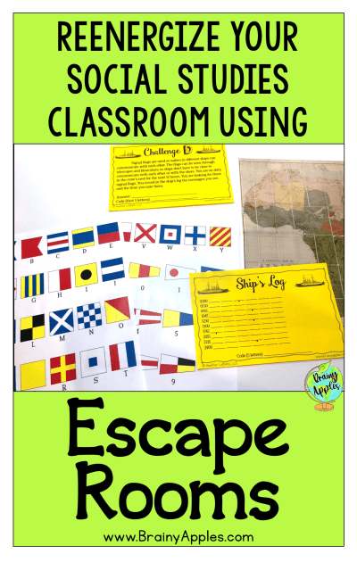 Learn how to create and use social studies escape rooms in the middle and high school classroom and homeschoolers. You can also download a free history escape room about World War 1. Students love learning about history using escape room activities! #brainyapples #escaperoom #socialstudies #history #middleschool #highschool
