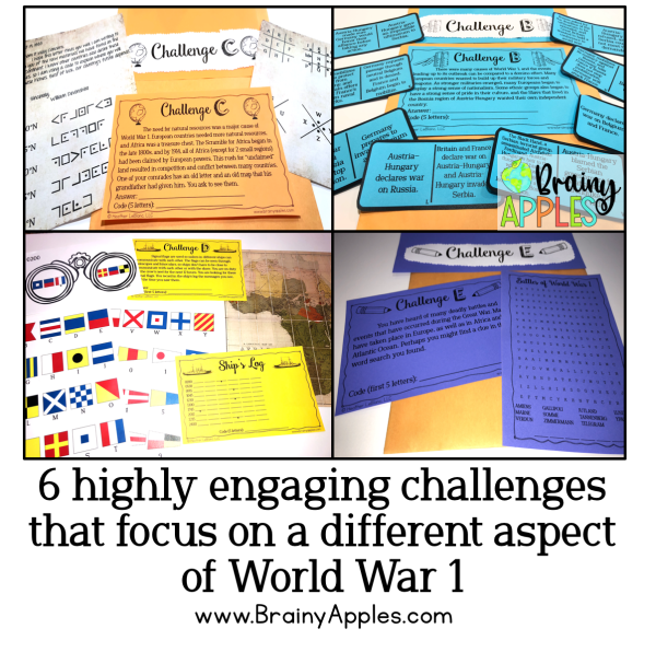 Free history escape room for the middle school and high social studies classroom and homeschoolers. This social studies escape room activity will help students better understand the events of World War 1. This blog post includes why escape rooms are beneficial and tips on how to create your own escape room and how to use escape room activities in the secondary classroom and as homeschooling. #brainyapples #escaperoom #socialstudies #history #middleschool #highschool