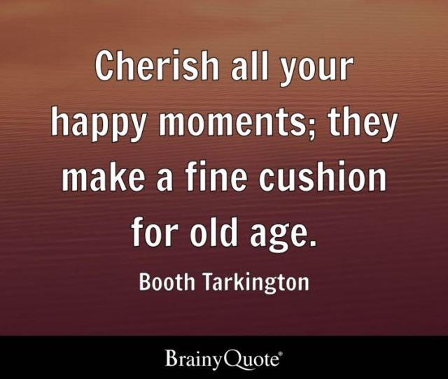 Quote Cherish All Your Happy Moments They Make A Fine Cushion For Old Age