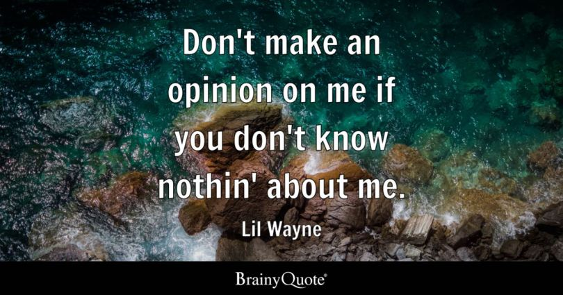 dont make an opinion on me if you dont know nothin - Lil Wayne Quotes
