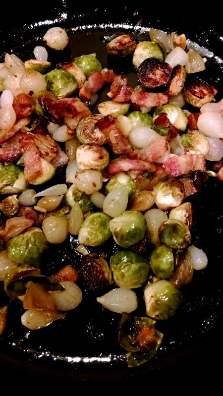 [image: mess of brussels sprouts, pearl onions, and bacon]