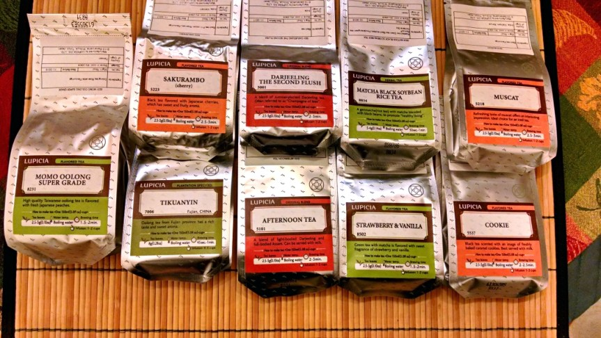 [image: nine bags of loose tea from Lupicia]