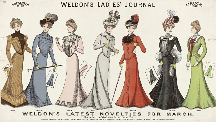 [image: illustration from Weldon's Ladies' Journal showing 7 fashions for March 1900]