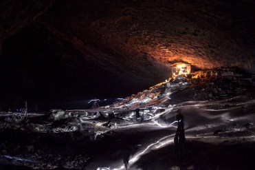 Talking to the locals can get you invited to the most amazing places - light trails inside a cave made by loacals as they guard bird nests