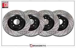 BRAKENETIC PREMIUM Cross DRILLED Brake Disc Rotors BNP61087.CD REAR SET
