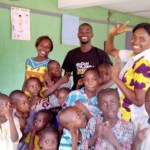 Bramble team and children from beere learning space posing for a picture
