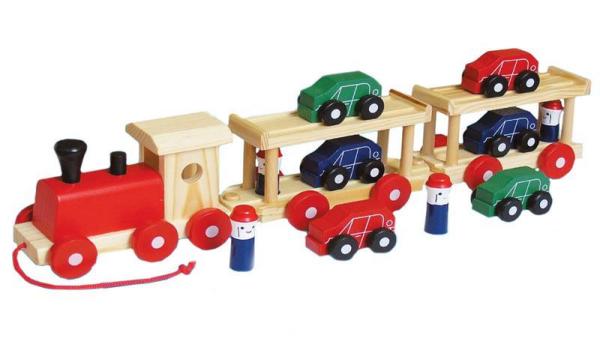 Wooden Train Car Transporter