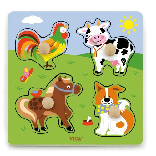 Farm Animal Wooden Knob Puzzle