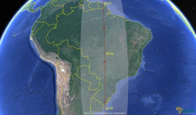 Passagem do Iridium 23 sobre o Brasil