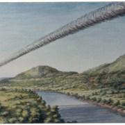 Quadro de Gisela Schinke que retrata a queda do Meteorito de Putinga