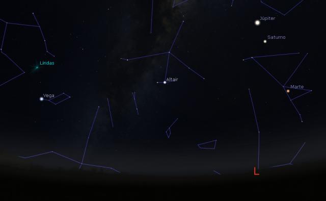 Céu da madrugada de 22 de abril, com o radiante da Líridas e os planetas Júpiter, Saturno e Marte