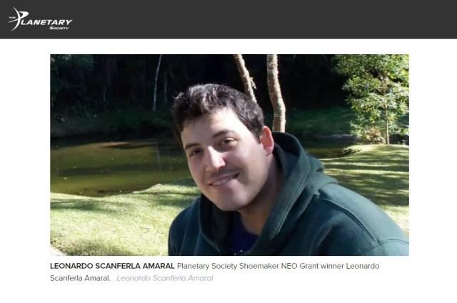 Leonardo Amaral, vencedor do Prêmio Shoemaker NEO 2019 - Reprodução: Planerary Society