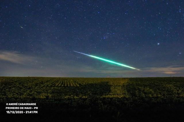 Passagem do meteoro fotografada a partir de Primeiro de Maio, Norte do Paraná - Créditos: André Casagrande