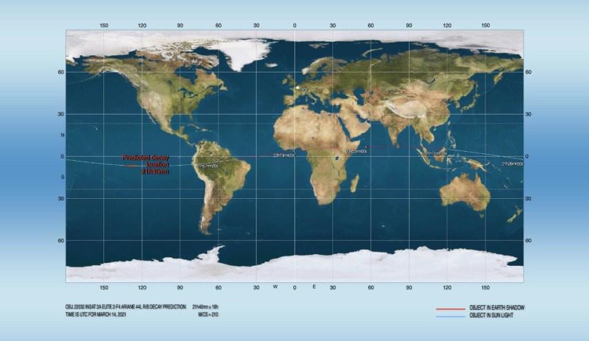 Reentrada do Corpo do Foguete Ariane 44L prevista para o dia 14 de março, às 18:40 (21:40 UT) - Créditos: Joseph Remis