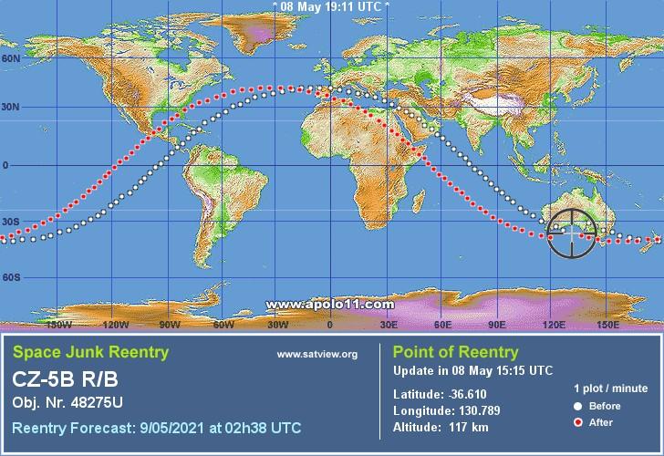Previsão de reentrada às 23:38 de sábado (08) sobre o Oceano Índico - Fonte: satview.org