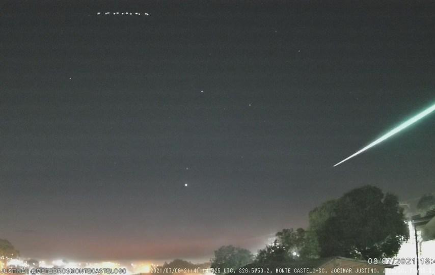 Meteoro registrado pela estação JJS5 em Monte Castelo, SC - Créditos: Jocimar Justino / BRAMON