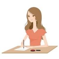 契約書に署名している女性のイラスト