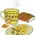 ビスケット、紅茶、本のイラスト