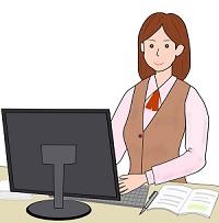 PCを使っている女性のイラスト