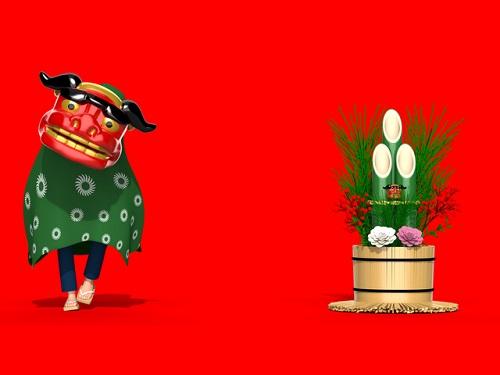 獅子舞と門松のイラスト