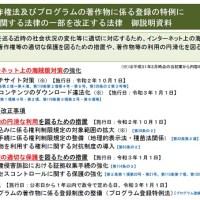著作権法及びプログラムの著作物に係る登録の特例に関する法律の一部を改正する法律 御説明資料の表紙