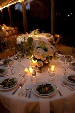 white hydrangea dahlias roses centerpiece