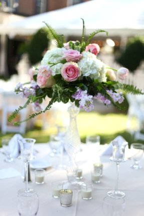Garden roses and hydrangea atop our vintage glass pedestals