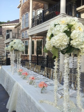 Crystal Pedestals and hydrangeas wedding centerpieces
