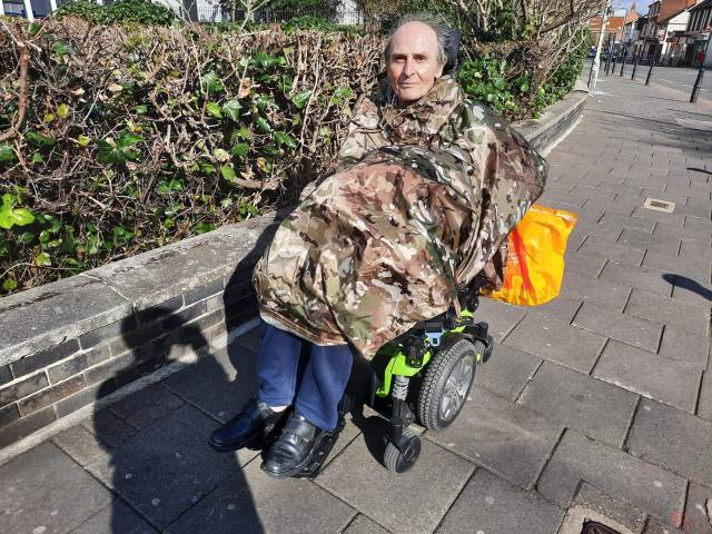 Roger in his Powerchair ready for off!