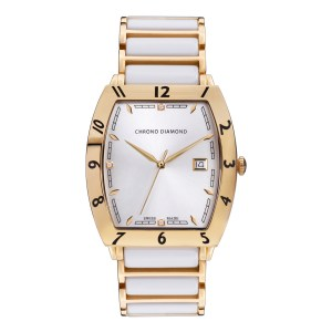 Chrono Diamond Men's Swiss White Leandro Watch