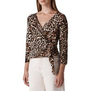 Whistles Multi Leopard Cotton Top Christmas party outfits