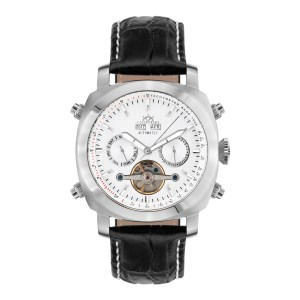Hindenberg Men's Black/Silver Skyray Leather Watch
