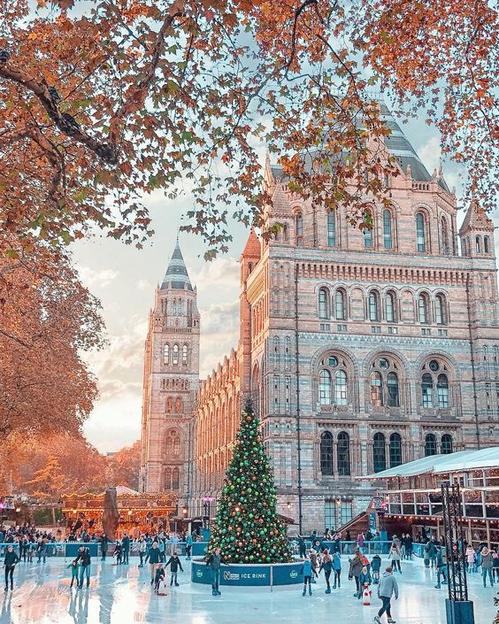 Natural History Museum ice skating rink in winter
