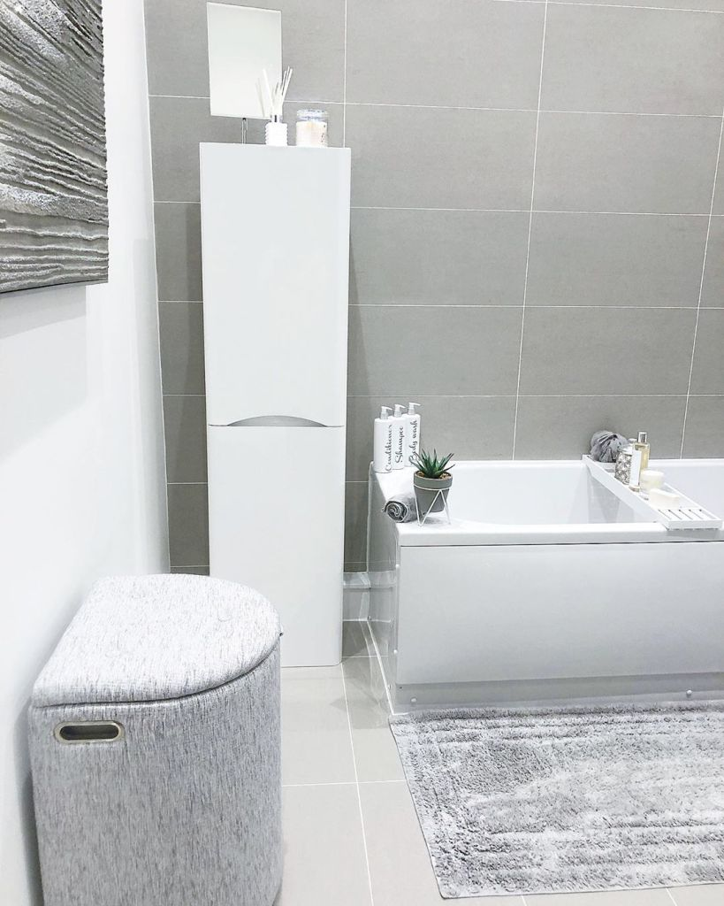 grey and white bathroom, grey decor @greychurchhome