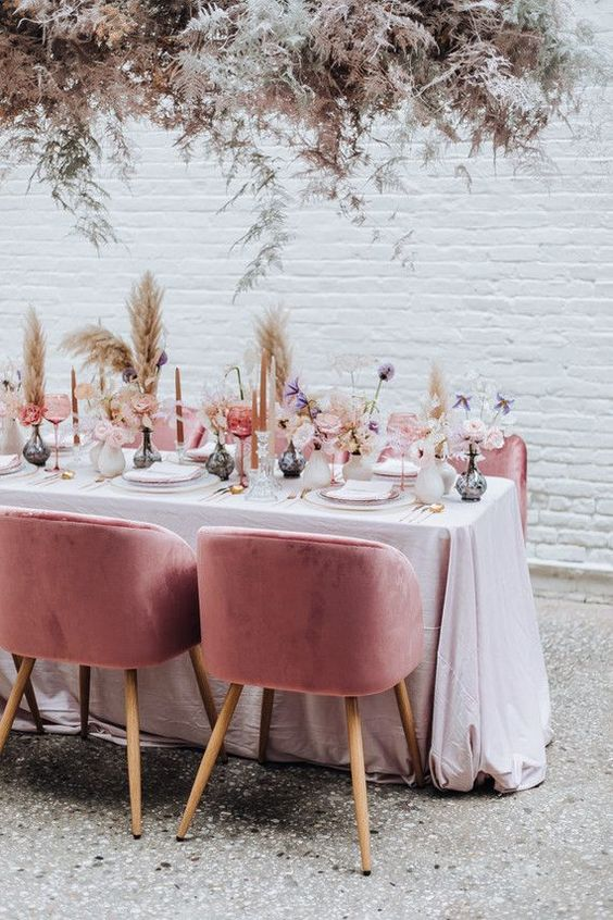 Pink and white dinner table settings