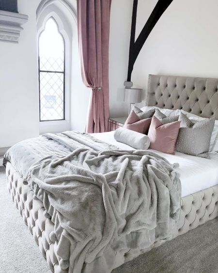 grey and white luxe bed, bed linen for christmas