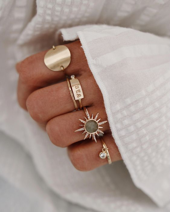 layered gold rings