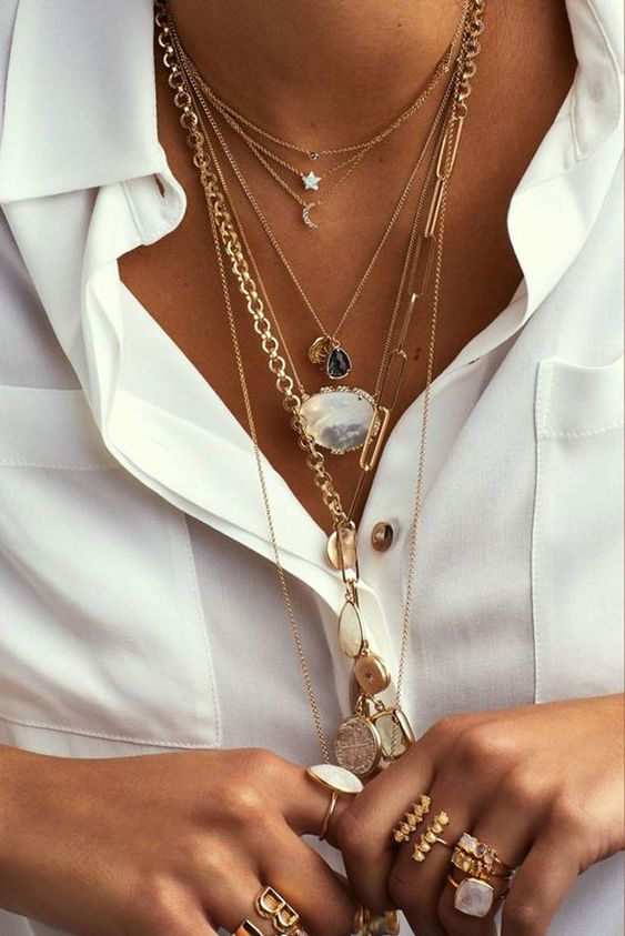 Layered jewellery stacking necklaces