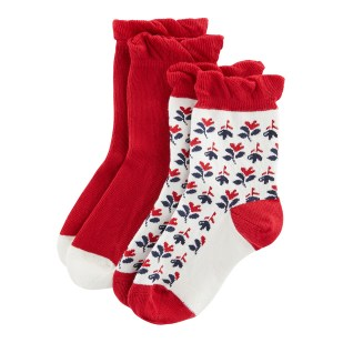 PETIT BATEAU Red/Floral Print 2 Pairs Of Socks