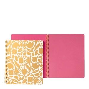 Kate Spade Large Spiral Notebook, Golden Floral