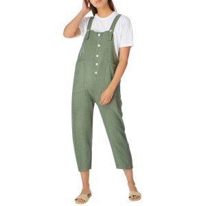 ALEXANDRE LAURENT Khaki Rustic Finish Linen Jumpsuit