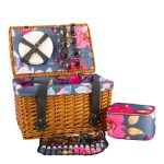 NAVIGATE 4 Person Floral Grey Wicker Picnic Basket