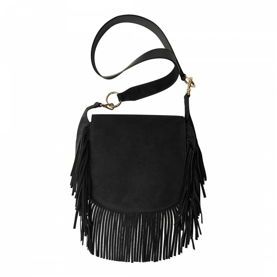 Maje Black Fringed Bag